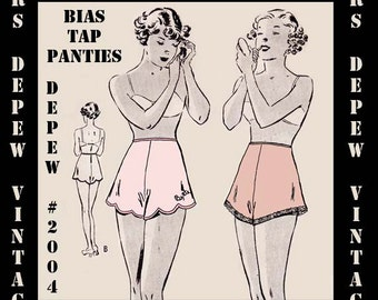 Vintage Sewing Pattern 1930s Ladies' Bias Pantie/ Tap Pants PDF #2004 -INSTANT DOWNLOAD-