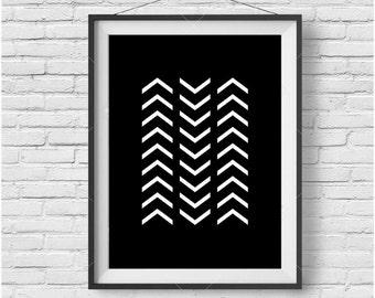 Minimalist Print, Black & White Poster, Chevron Print, Geometric Art, Simple Print, Scandinavian Art, Monochromatic Decor, Digital Poster