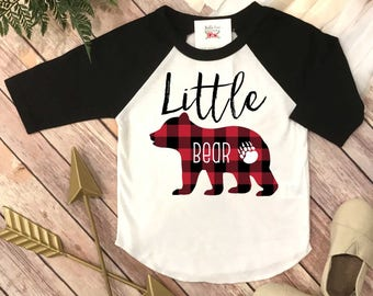 Little Bear Shirt, First Birthday Shirt, Buffalo Plaid Party, Family Shirts, Little Bear Shirt, Buffalo Plaid Bear, Family tees, Mom and Me