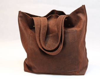 Brown italian leather tote bag,shopping bag,shoulder bag tote,soft leather tote,womens ideal gift,personalized,leather handbag,market bag T4