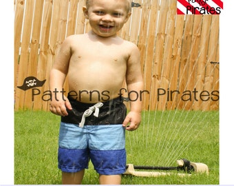 Swashbuckler Swim Trunks Sewing PDF Pattern Sizes 3months to 14 For Boys or Girls- Modern and Stylish