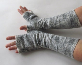 Clothing gift Felt fingerless gloves, Felted mittens Grey warm Mittens, White and Black mitts, Wool gloves, felt by Galafilc outdoors gift