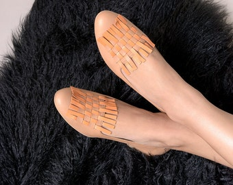 Woven flat shoes leather handmade