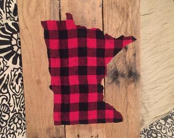 Buffalo Lumberjack Check Rustic State Wall Hanging