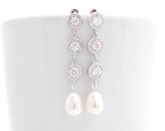 Long Pearl Bridal Earrings, Swarovski Bridal Earrings, Cubic Zirconia Earring, Pearl Bridal Jewelry, Teardrop Pearl Sterling Silver Earring