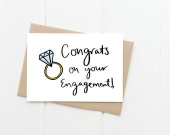 Congrats On Your Engagement Greeting Card, Congratulations Engagement Blank Card