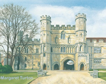 Battle Abbey Print, mounted and signed by artist