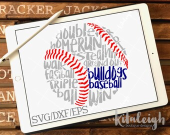 Messy Bulldogs Baseball INSTANT DOWNLOAD in dxf, svg, eps for use with programs such as Silhouette Studio and Cricut Design Space