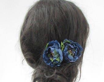 2x Indigo Dark Blue Peony Flower Hair Pins Bridesmaid Floral Rose Wedding 5148