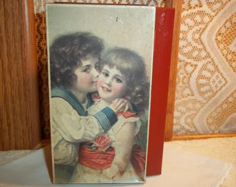 Vintage Hoffmann Swiss Made Candy Tin Shabby Chic Worn Victorian Decor Romantic Charming Collectible Tin Box Free Shipping
