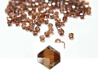 4 mm Smoked Topaz Swarovski Bicone beads 72/144/432/1000 Pieces (259) Made in Austria