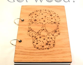 Star Skull Wooden Notebook with Paper