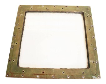 Vintage Square BRASS PORTHOLE Window boat ship submarine tank HEAVY glass green salvage wedding old 40s 50s man cave cottage country