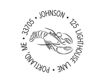 Rubber Stamp or Self Inking Stamp Return Address Lobster Lobsters Personalized Custom Nautical Housewarming Gift New House Lobster