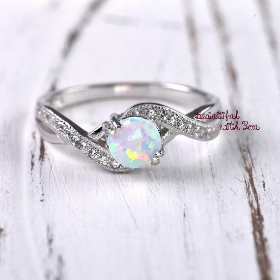 Wedding Ring Women Opal Ring Opal Wedding Ring Lab Created