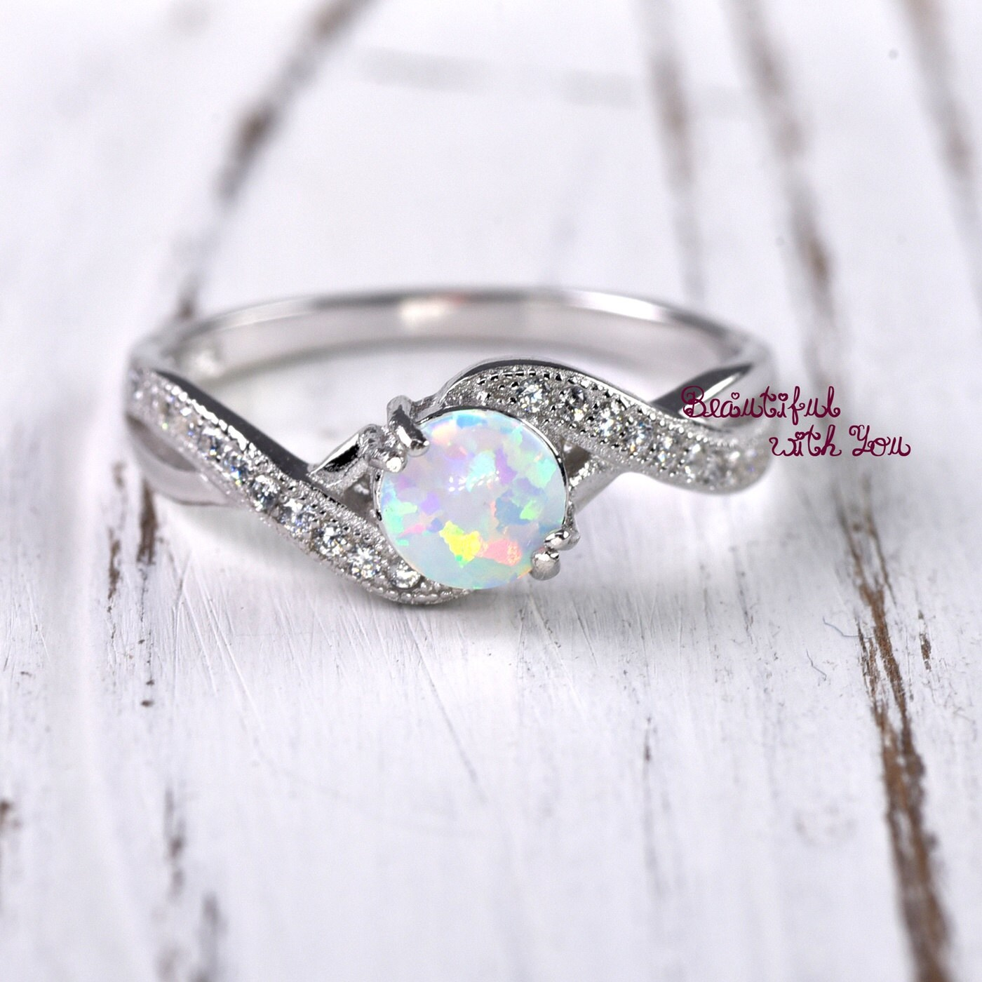 Wedding Ring Women Opal Ring Opal Wedding Ring Lab Created