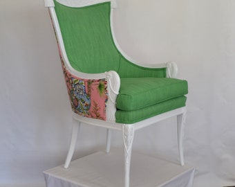 Chair Upholstered Chinoiserie Carved Epaulets Pearls Vintage