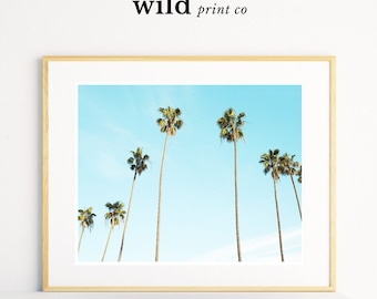 Palm Tree Print, Palm Tree Wall Art, Palm Sky Print, Tropical Decor, Beach Photography, California Palms, Modern Minimal, Digital Download