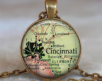 Cincinnati map necklace, Cincinnati pendant Cincinnati map pendant, Cincinnati necklace map jewelry key chain key ring key fob