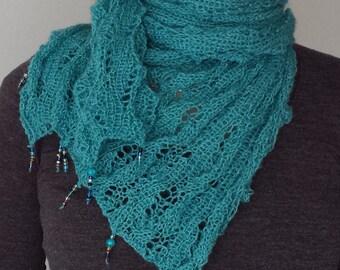 Turquoise hand knit lace wrap, Shawl in silk mohair kid merino, Handknit, Handknit shawl, Knitted Dark mint shawl, Handknit scarf