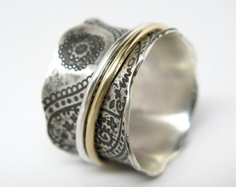 Paisley Vintage Inspired Sterling Silver and 10k Gold Spinner Ring