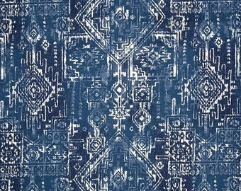 Aztec Indigo Navy Blue Cotton Fabric by the Yard Designer Southwest Drapery Fabric Upholstery Fabric Navy Blue Home Decor Fabric G397