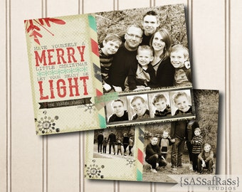 Let Your Heart Be Light--Christmas Card Template for Adobe Photoshop, Photographer Template, Instant Download, DIY, Commercial Use