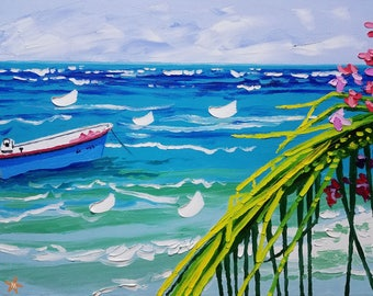 Coastal wall art seascape painting boat colorful painting oil painting wall decor surf decor surf art ocean painting seascape canvas art