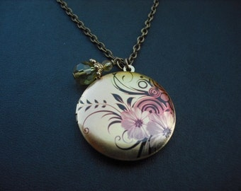 Locket Necklace, Antique Brass Necklace with Floral Spray Photo Altered Locket
