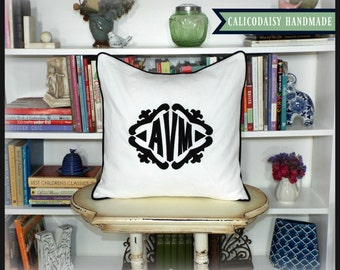 The Lisette Applique Framed Monogrammed Pillow Cover - 20 x 20 square