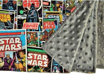 "Star Wars Baby Blanket, Security Blanket 19""X23"", Lovey, Baby Shower Gift,  Baby Girl,  Baby Boy, Nerd, Geek, Minky, Star Wars Gift"