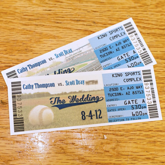 baseball wedding save the date ticket magnets sports theme