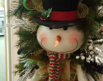 Snowman, Snowman Wreath, Whimsical, Tear Drop Wreath, Winter Wreath, Childrens Wreath,