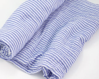 Double Gauze Fabric, Blue Stripe - 100% cotton muslin fabric by the half yard - great for sewing baby swaddle blankets
