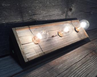 3 Bulb Reclaimed Barnwood Vanity Light bar
