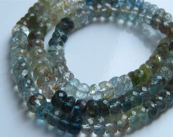 1/2 Strand of Amazing Shaded Moss Aquamarine Faceted Rondelles Beads 3mm-3.5mm Semi precious Gemstones
