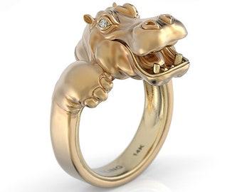 Happy hippo diamond snuggle ring