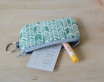 Mini Wallet in Sage Feather - Pouch with Key Ring, Keychain Pouch, Card holder