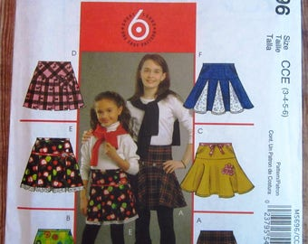 Easy Sew Llittle Girls Skirt 6 Styles Sizes 3 4 5 6 McCalls Pattern M5696 UNCUT