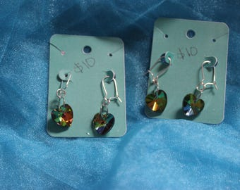 Rainbow holographic heart earrings