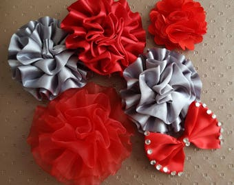 set of 6 appliques flowers and bow