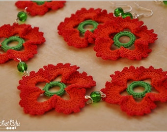 Red crocheted mellow earrings and necklace