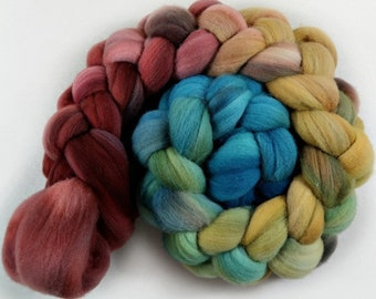Plum Honey 2 merino wool top for spinning and felting - 4.1 ounces