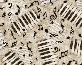 ENCORE - Piano Keys and Notes in Gray / Black - Grey Music Cotton Quilt Fabric - Dan Morris for Quilting Treasures Fabrics - 27016-K (W4569)
