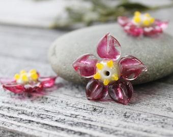 Lampwork Flower Beads - 1 pc Pink Flower, Glass Beads, Handmade Lampwork Flower Beads, Glass Flower Beads
