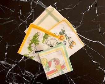 4 white vintage handkerchiefs, floral wedding hankie, flowergirl ladies hankies, antique cotton handkerchief