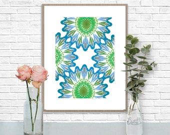 Bali Blues 3 Digital Print • Kaleidoscope Mandala Bright Island Pattern • Instant Download • Home Decor Wall Art • Printable Poster Artwork
