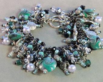 SALE! Black green silver and gunmetal cha cha charm bracelet, boho polymer dangle charm bracelet jade green silver swirls crystal pearl aqua