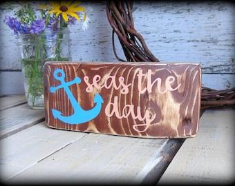 Rustic Nautical Decor - Anchor Sign - Wood Block Sign - Coastal Home Decor - Beach House Sign - Rustic Wooden Sign - Inspirational Art