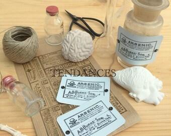 "Metal tags rectangular old printing plate ""arsenic"" 7 x 5 cm"